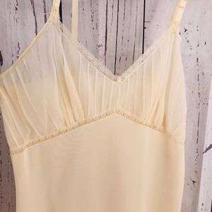 Vintage Ruffled Slip / Nightgown- Ivory / Taupe